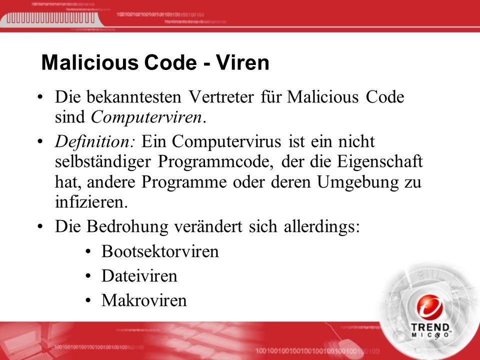 9 Malicious Code - Viren Die bekanntesten Vertreter für Malicious Code sind Computerviren. Definition: Ein Computervirus ist ein nicht selbständiger P