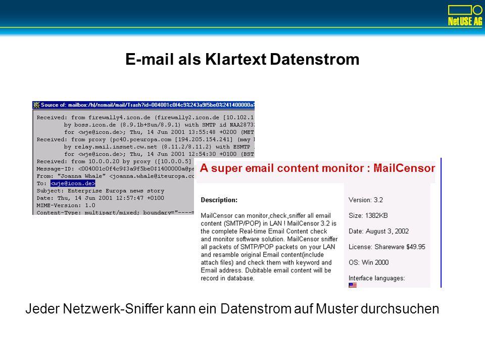 E-mail als Klartext Datenstrom Jeder Netzwerk-Sniffer kann ein Datenstrom auf Muster durchsuchen