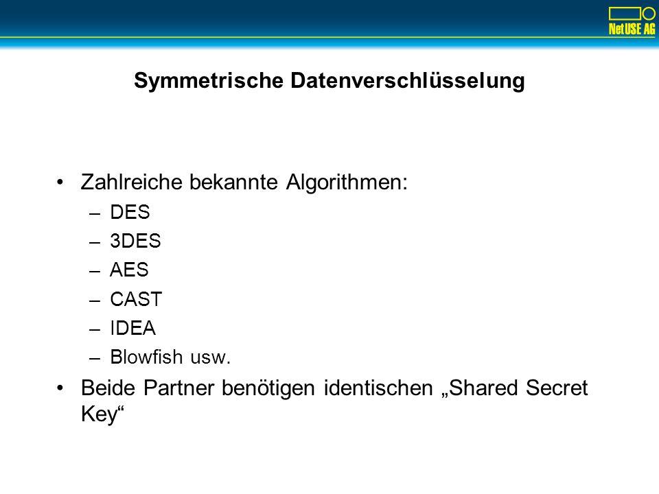 Symmetrische Datenverschlüsselung Zahlreiche bekannte Algorithmen: –DES –3DES –AES –CAST –IDEA –Blowfish usw. Beide Partner benötigen identischen Shar