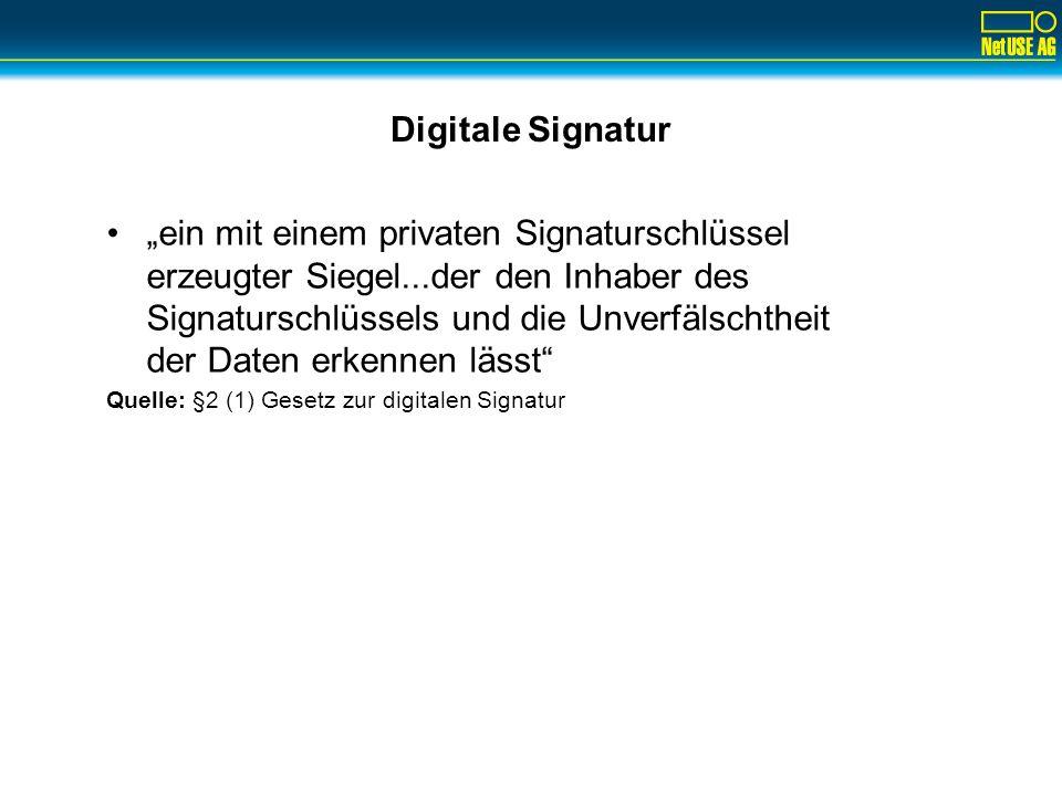 Digitale Signatur ein mit einem privaten Signaturschlüssel erzeugter Siegel...der den Inhaber des Signaturschlüssels und die Unverfälschtheit der Date