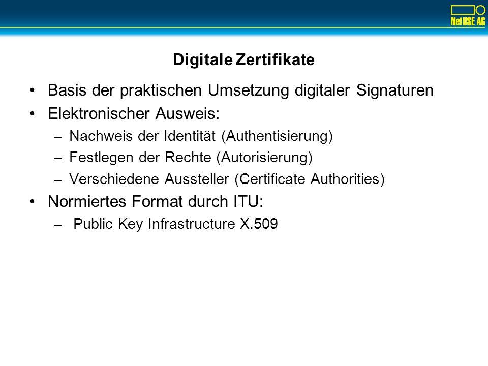 Digitale Zertifikate Basis der praktischen Umsetzung digitaler Signaturen Elektronischer Ausweis: –Nachweis der Identität (Authentisierung) –Festlegen