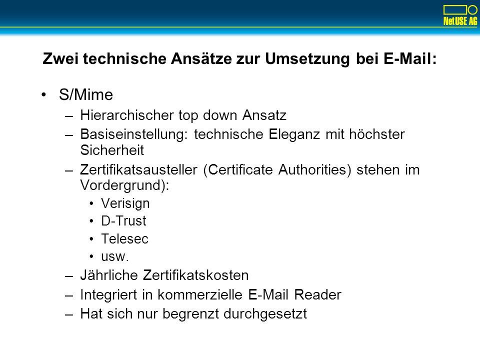 Zwei technische Ansätze zur Umsetzung bei E-Mail: S/Mime –Hierarchischer top down Ansatz –Basiseinstellung: technische Eleganz mit höchster Sicherheit