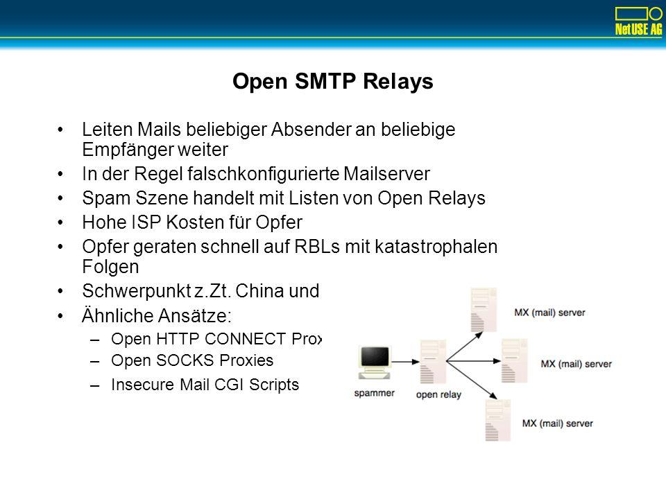 Open SMTP Relays Leiten Mails beliebiger Absender an beliebige Empfänger weiter In der Regel falschkonfigurierte Mailserver Spam Szene handelt mit Lis