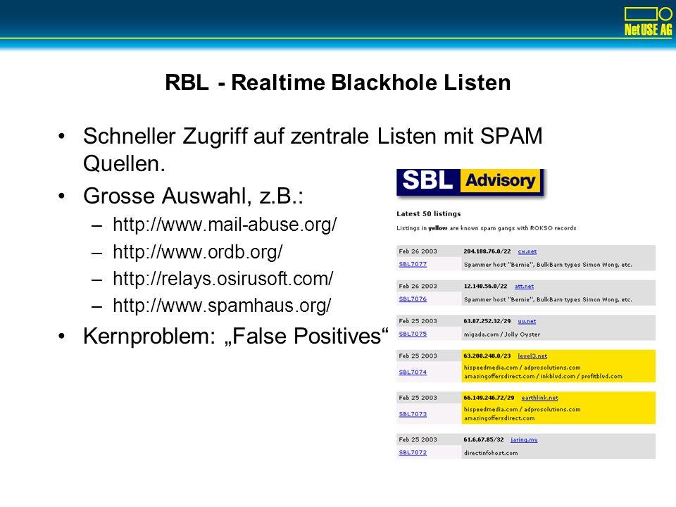 RBL - Realtime Blackhole Listen Schneller Zugriff auf zentrale Listen mit SPAM Quellen. Grosse Auswahl, z.B.: –http://www.mail-abuse.org/ –http://www.
