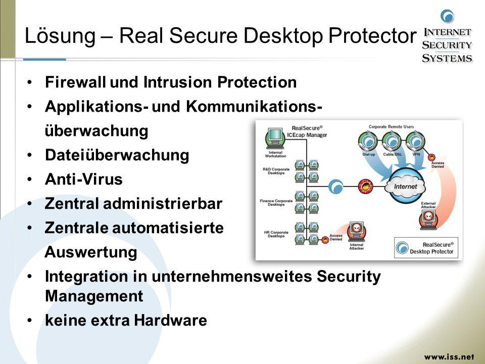 Lösung – Real Secure Desktop Protector Firewall und Intrusion Protection Applikations- und Kommunikations- überwachung Dateiüberwachung Anti-Virus Zentral administrierbar Zentrale automatisierte Auswertung Integration in unternehmensweites Security Management keine extra Hardware