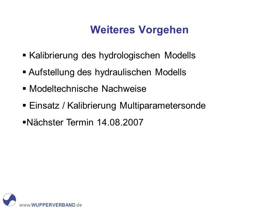www.WUPPERVERBAND.de Weiteres Vorgehen Kalibrierung des hydrologischen Modells Aufstellung des hydraulischen Modells Modeltechnische Nachweise Einsatz