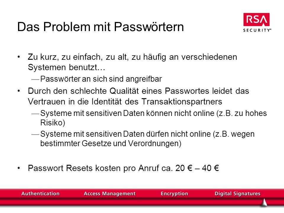 Das Problem mit Passwörtern Zu kurz, zu einfach, zu alt, zu häufig an verschiedenen Systemen benutzt… Passwörter an sich sind angreifbar Durch den sch