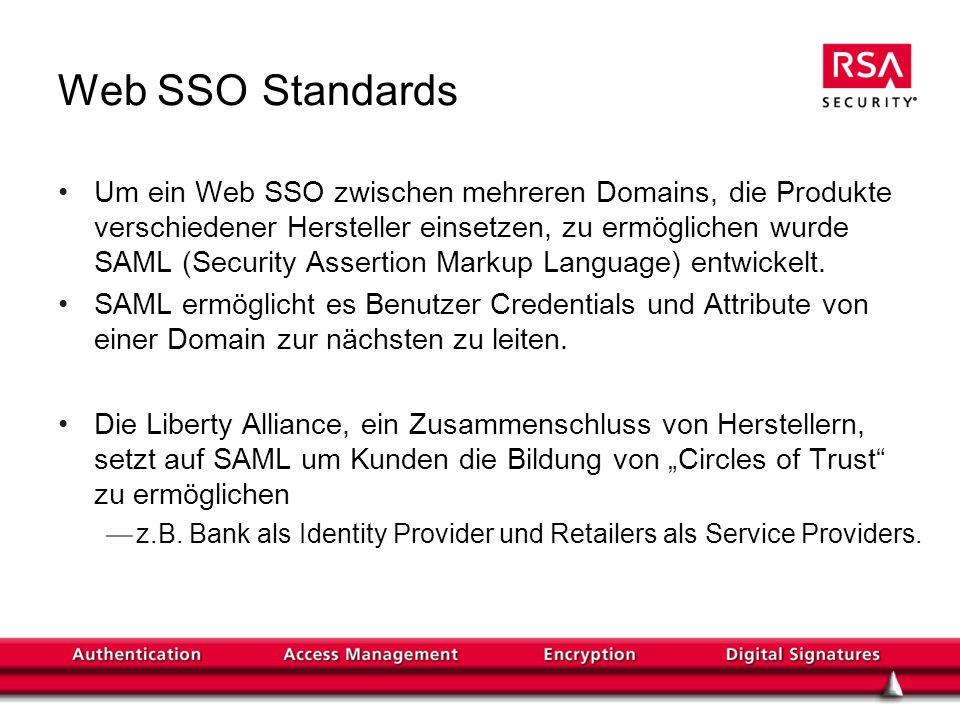 Web SSO Standards Um ein Web SSO zwischen mehreren Domains, die Produkte verschiedener Hersteller einsetzen, zu ermöglichen wurde SAML (Security Asser