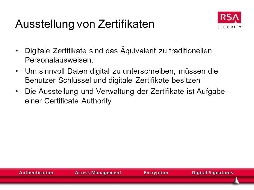 Ausstellung von Zertifikaten Digitale Zertifikate sind das Äquivalent zu traditionellen Personalausweisen. Um sinnvoll Daten digital zu unterschreiben