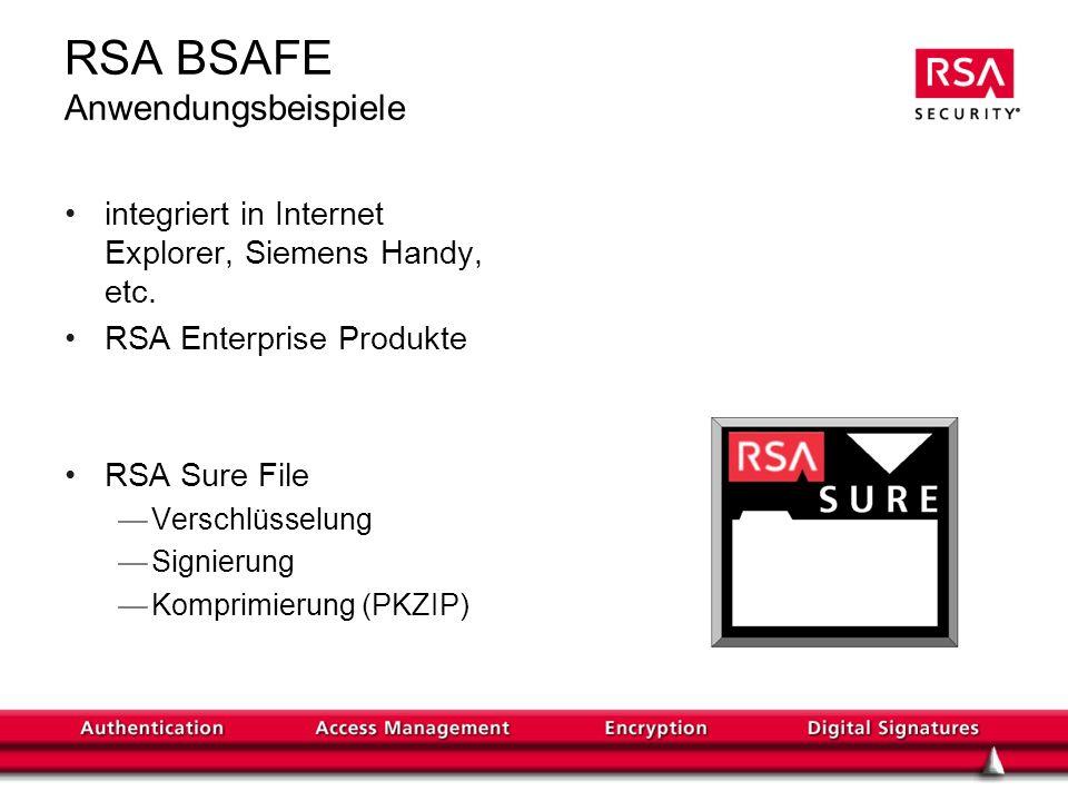RSA BSAFE Anwendungsbeispiele integriert in Internet Explorer, Siemens Handy, etc. RSA Enterprise Produkte RSA Sure File Verschlüsselung Signierung Ko