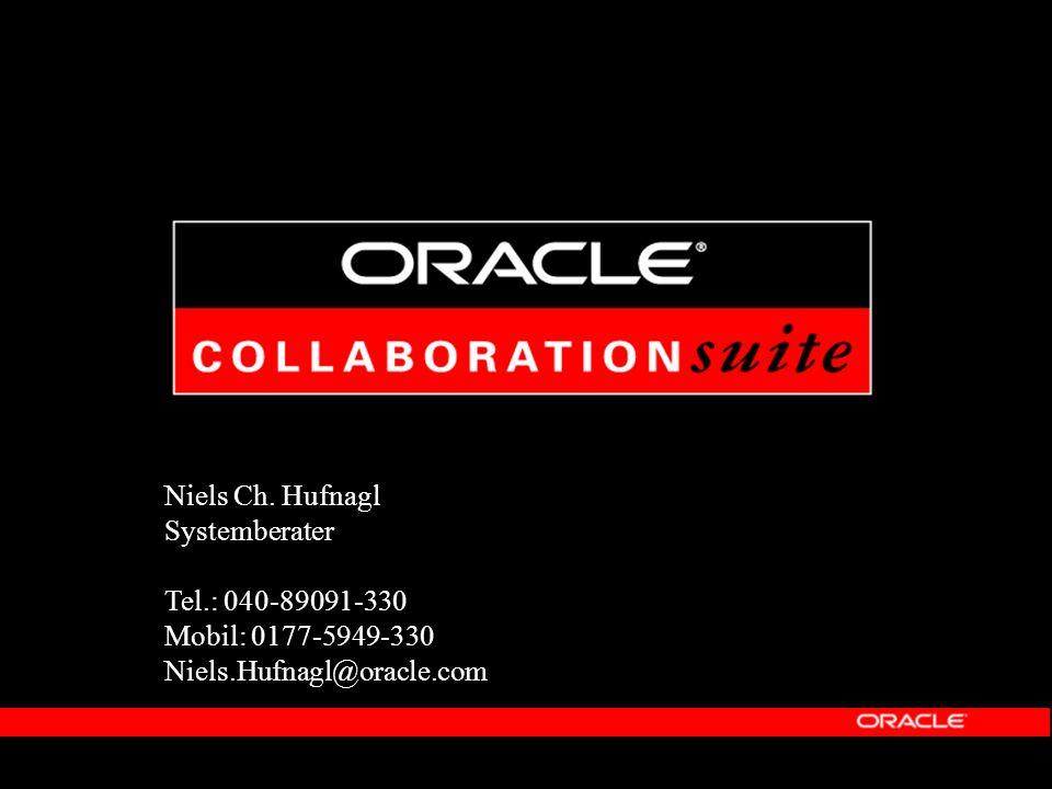 Nutzen durch Oracle Collaboration Suite Manager: Verringerte Gesamtkosten und erhöhte Produktivität Konsolidierung, vereinfachte und vereinheitlichte Administration Vermeidung reduntanter Tätigkeiten der Mitarbeiter Homogenisierung der Arbeitsabläufe Admin: Höchste Verfügbarkeit und Skalierbarkeit Oracle9 i Release 2 (9.2) und Real Applications Clusters Unbreakable Oracle DB als Basis: Einbettung in bestehende Backup Verfahren Anwender: Zugang zu allen Inhalten, mit allen Endgeräten, zu jeder Zeit Mobiler Zugriff via Browser, PDA, Sprachsteuerung Einheitliche Suche (formatübergreifend)