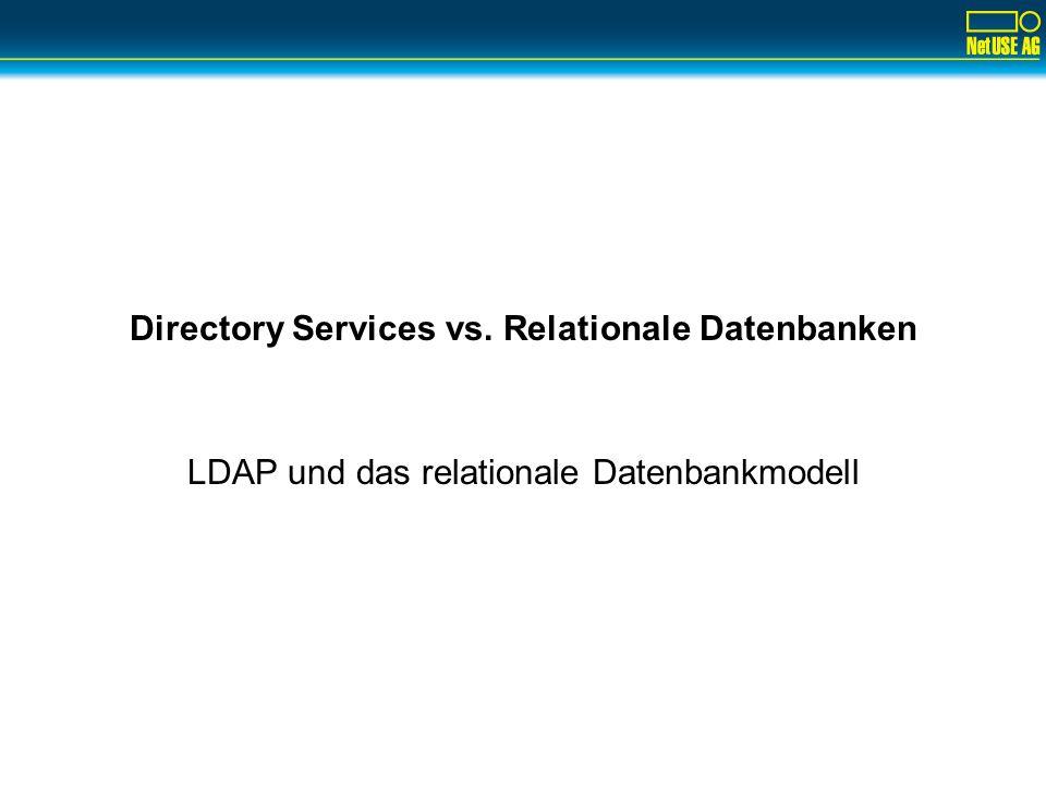 Copyright ©2002 by NetUSE AG12 LDAP wird dynamisch beschrieben Viele LDAP-Server speichern die Schemadefinition out-of- band –Externe Dateien, die per include in die Serverkonfiguration mit eingebunden werden.