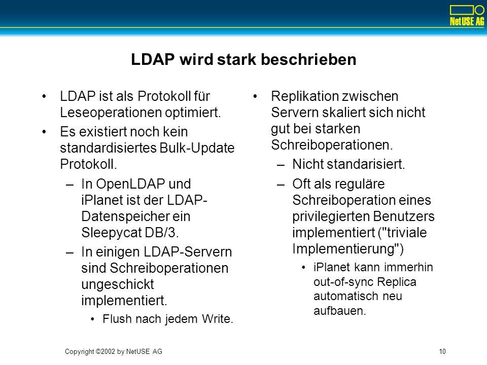 Copyright ©2002 by NetUSE AG10 LDAP wird stark beschrieben LDAP ist als Protokoll für Leseoperationen optimiert. Es existiert noch kein standardisiert