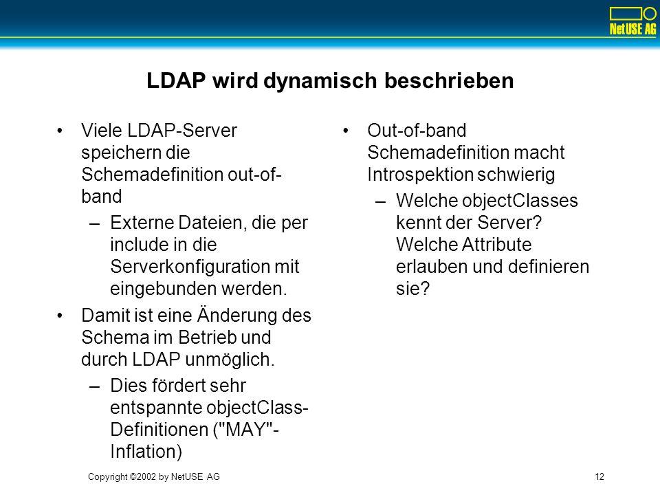 Copyright ©2002 by NetUSE AG12 LDAP wird dynamisch beschrieben Viele LDAP-Server speichern die Schemadefinition out-of- band –Externe Dateien, die per