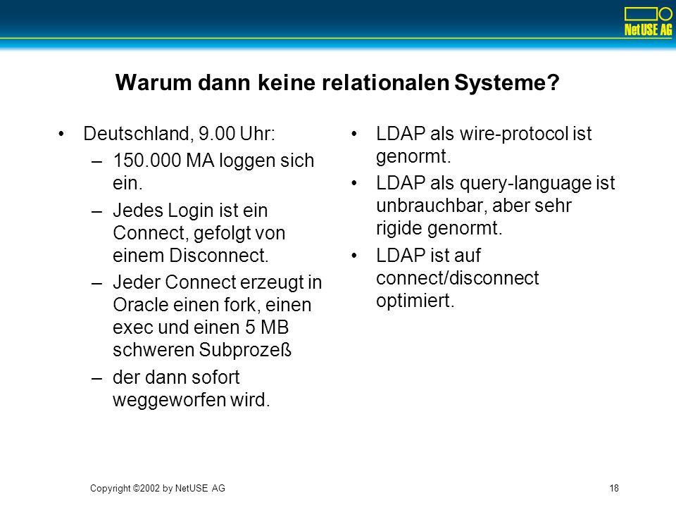 Copyright ©2002 by NetUSE AG18 Warum dann keine relationalen Systeme? Deutschland, 9.00 Uhr: –150.000 MA loggen sich ein. –Jedes Login ist ein Connect