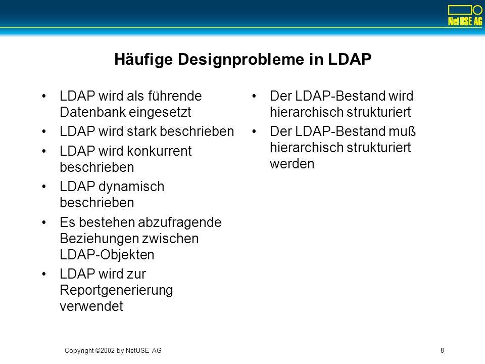 Copyright ©2002 by NetUSE AG9 LDAP wird als führende Datenbank eingesetzt LDAP-Attribute haben eine Syntax (einen Typ) –Typen sind zahlreich und im Standard vordefiniert –Typen sind schwer erweiterbar –Integritätsbedingungen können nicht definiert werden.