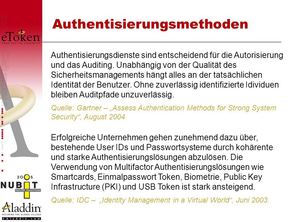 Authentisierungsmethoden Authentisierungsdienste sind entscheidend für die Autorisierung und das Auditing. Unabhängig von der Qualität des Sicherheits