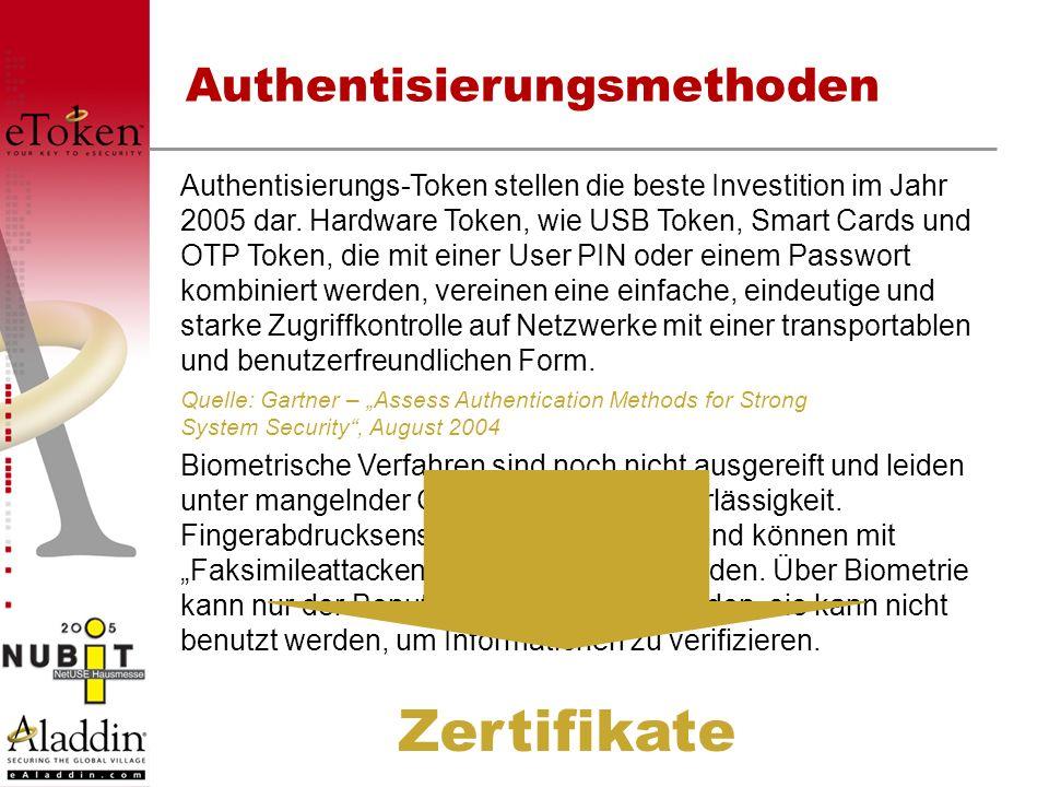 Authentisierungsmethoden Authentisierungs-Token stellen die beste Investition im Jahr 2005 dar. Hardware Token, wie USB Token, Smart Cards und OTP Tok