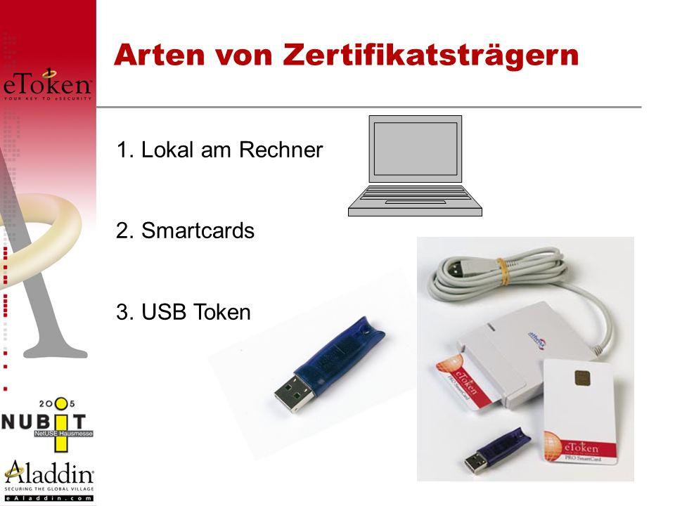 Arten von Zertifikatsträgern 1.Lokal am Rechner 2.Smartcards 3. USB Token