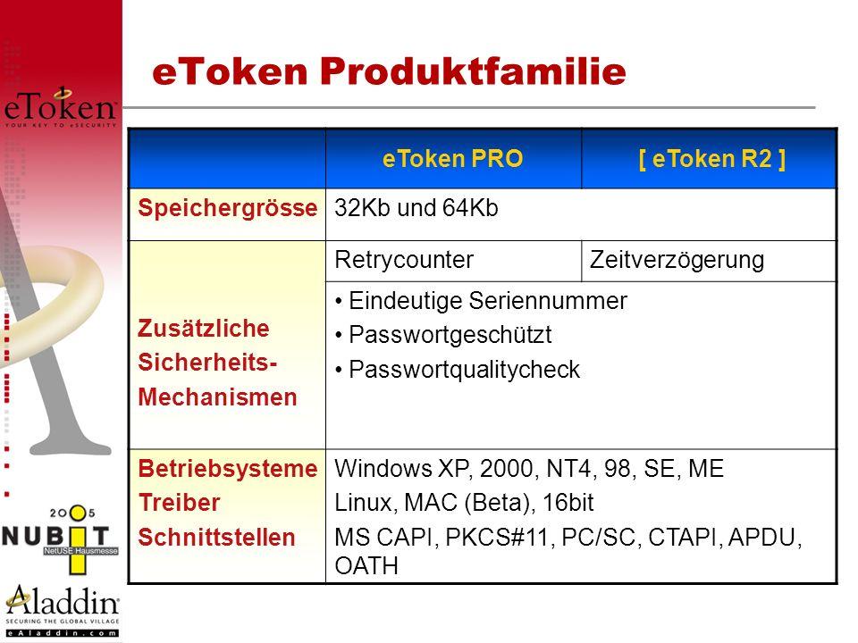 eToken Produktfamilie eToken PRO [ eToken R2 ] Speichergrösse32Kb und 64Kb Zusätzliche Sicherheits- Mechanismen RetrycounterZeitverzögerung Eindeutige