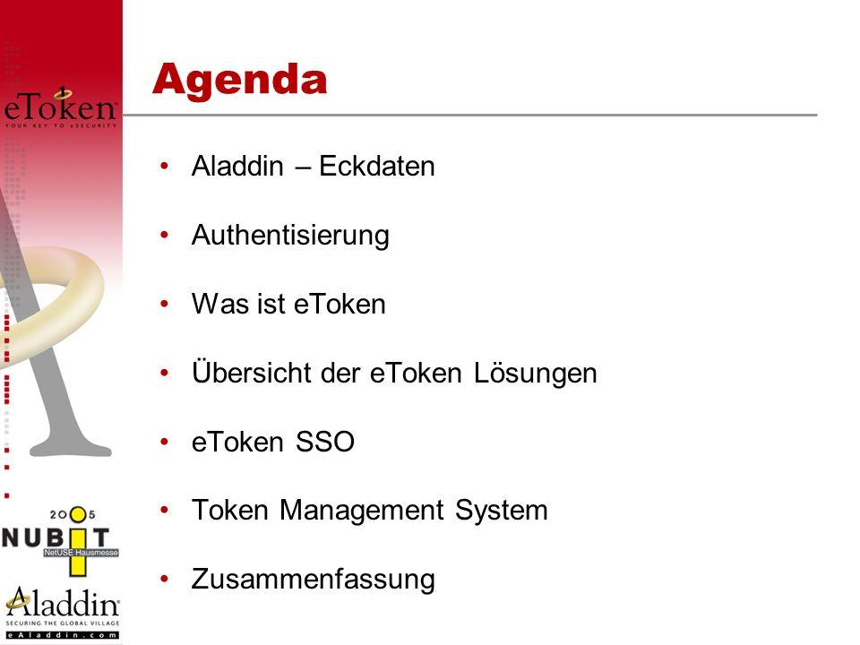 Agenda Aladdin – Eckdaten Authentisierung Was ist eToken Übersicht der eToken Lösungen eToken SSO Token Management System Zusammenfassung