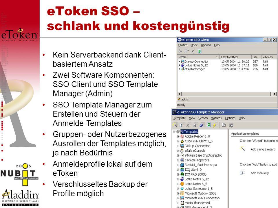 eToken SSO – schlank und kostengünstig Kein Serverbackend dank Client- basiertem Ansatz Zwei Software Komponenten: SSO Client und SSO Template Manager