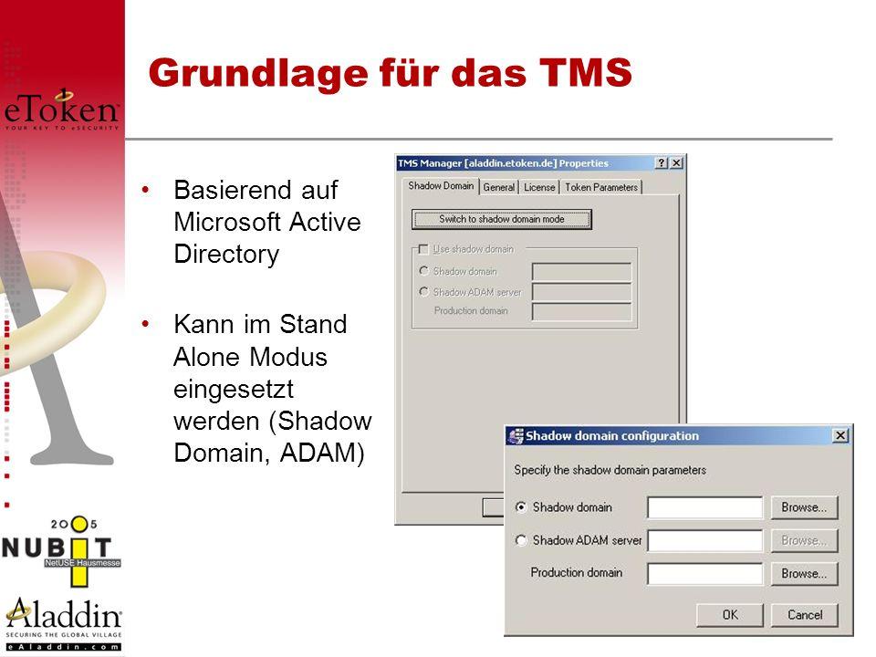 Grundlage für das TMS Basierend auf Microsoft Active Directory Kann im Stand Alone Modus eingesetzt werden (Shadow Domain, ADAM)