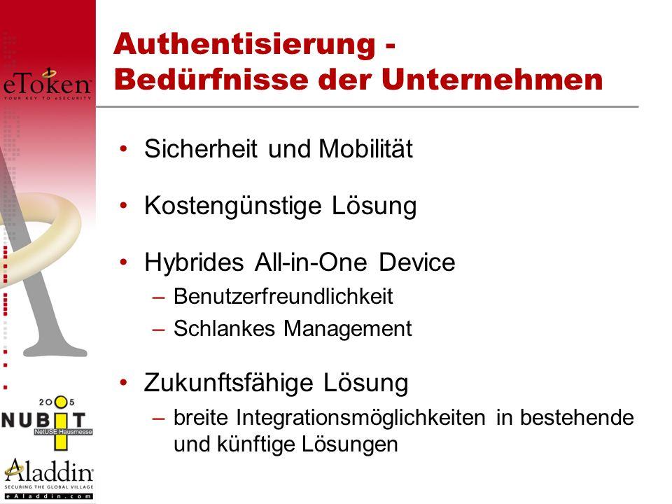 Authentisierung - Bedürfnisse der Unternehmen Sicherheit und Mobilität Kostengünstige Lösung Hybrides All-in-One Device –Benutzerfreundlichkeit –Schla