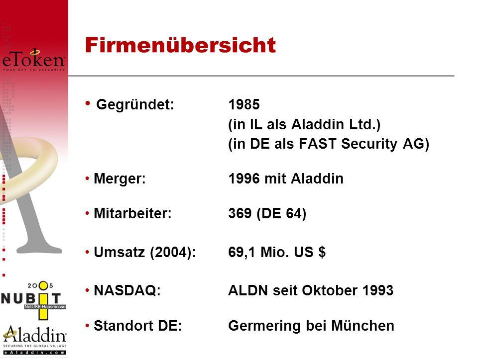 Gegründet:1985 (in IL als Aladdin Ltd.) (in DE als FAST Security AG) Merger: 1996 mit Aladdin Mitarbeiter:369 (DE 64) Umsatz (2004):69,1 Mio. US $ NAS