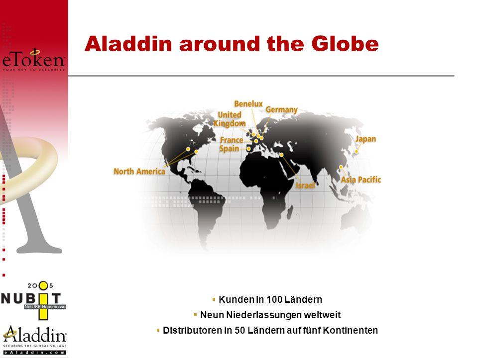 Aladdin around the Globe Kunden in 100 Ländern Neun Niederlassungen weltweit Distributoren in 50 Ländern auf fünf Kontinenten