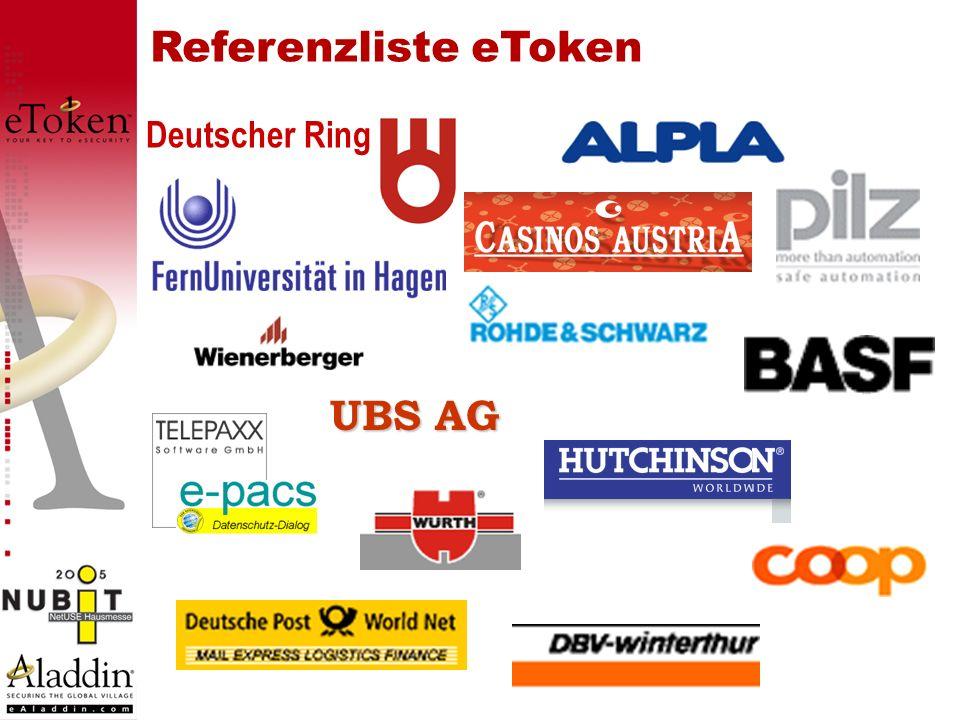 eToken Lösungen - Aladdin eToken für Network Logon: eToken für Network Logon: Windows Domain Server, (NT4, 2000, XP) Windows Domain Server, (NT4, 2000, XP) Novell NDS Novell NDS Samba Server Samba Server eToken Web Sign-On eToken Web Sign-On Token Management System Token Management System eToken Simple Sign-On eToken Simple Sign-On eToken PKI-Client für VPN, PKI, SC-Logon, Secure eMail, Secure Webaccess etc.