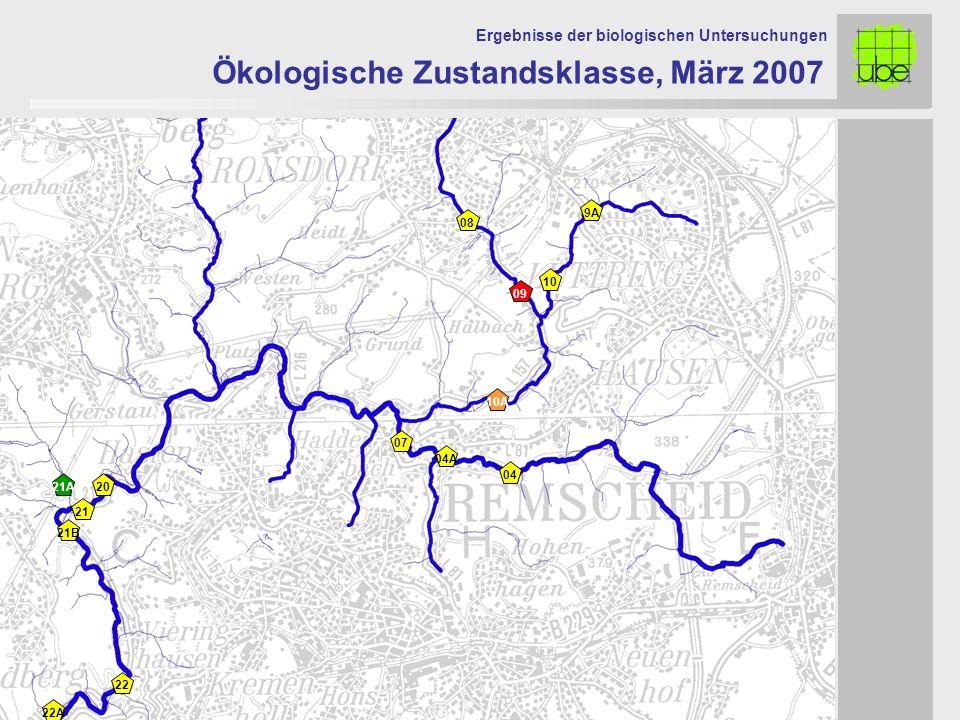 21 20 09 10 10A 07 Ökologische Zustandsklasse, März 2007 Ergebnisse der biologischen Untersuchungen 21A 08 9A 04A 04 22 22A 21B