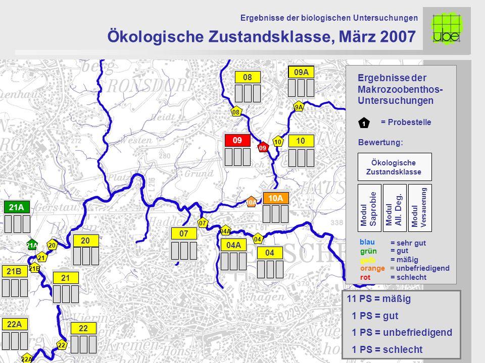 21 20 09 10 10A 07 Ökologische Zustandsklasse, März 2007 Ergebnisse der biologischen Untersuchungen 21A 11 PS = mäßig 1 PS = gut 1 PS = unbefriedigend