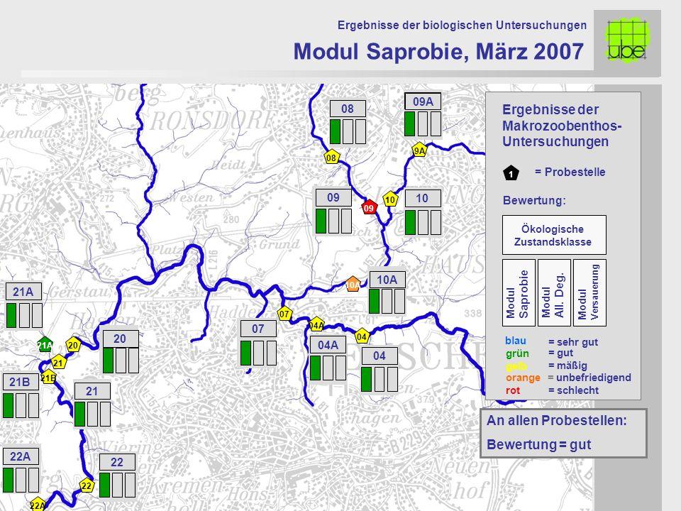 21 20 09 10 10A 07 Modul Saprobie, März 2007 Ergebnisse der biologischen Untersuchungen 21A An allen Probestellen: Bewertung = gut 1 = Probestelle grü