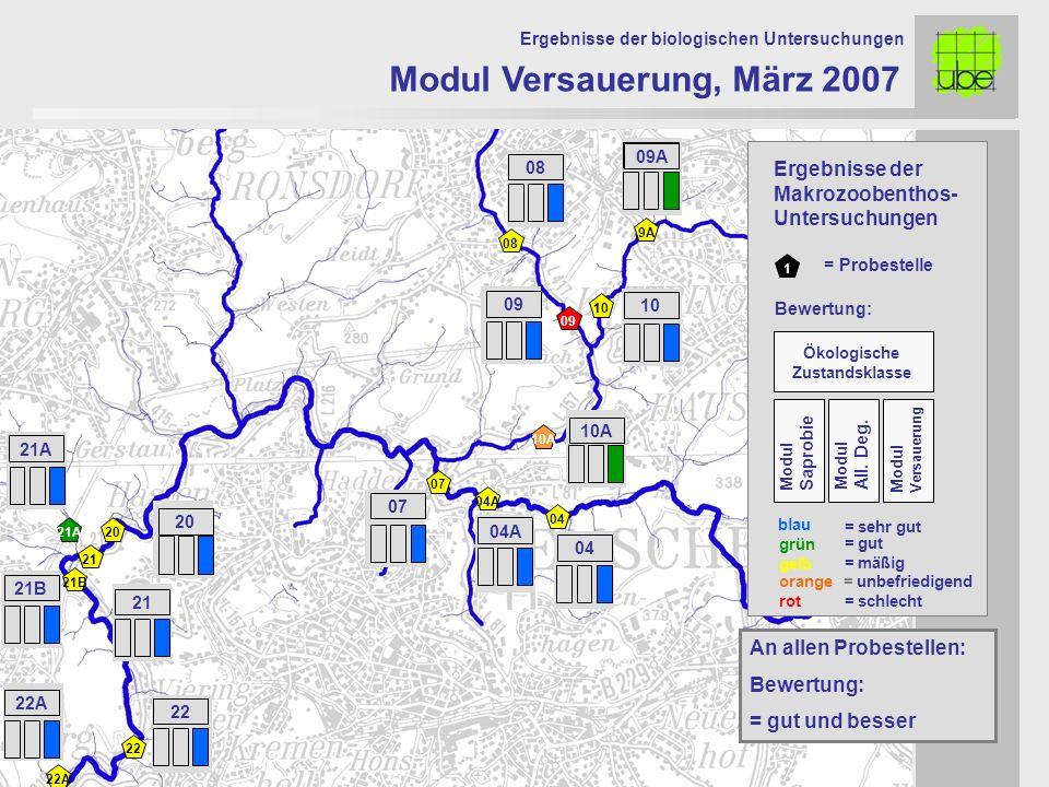 21 20 09 10 10A 07 Modul Versauerung, März 2007 Ergebnisse der biologischen Untersuchungen 21A An allen Probestellen: Bewertung: = gut und besser 1 =