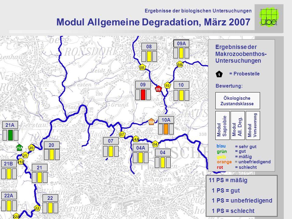 21 20 09 10 10A 07 Modul Allgemeine Degradation, März 2007 Ergebnisse der biologischen Untersuchungen 21A 11 PS = mäßig 1 PS = gut 1 PS = unbefriedige