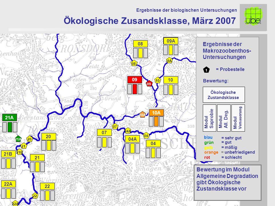 21 20 09 10 10A 07 Ökologische Zusandsklasse, März 2007 Ergebnisse der biologischen Untersuchungen 21A Bewertung im Modul Allgemeine Degradation gibt
