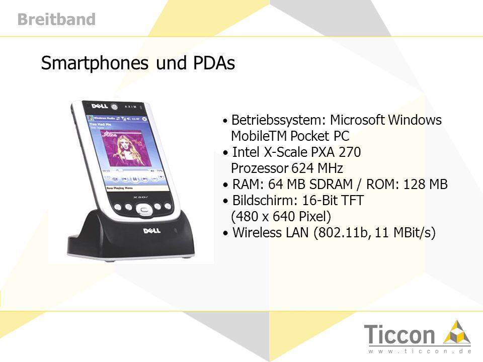 Breitband Smartphones und PDAs Betriebssystem: Microsoft Windows MobileTM Pocket PC Intel X-Scale PXA 270 Prozessor 624 MHz RAM: 64 MB SDRAM / ROM: 128 MB Bildschirm: 16-Bit TFT (480 x 640 Pixel) Wireless LAN (802.11b, 11 MBit/s)