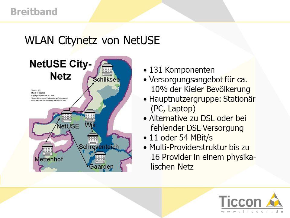 Breitband WLAN Citynetz von NetUSE 131 Komponenten Versorgungsangebot für ca. 10% der Kieler Bevölkerung Hauptnutzergruppe: Stationär (PC, Laptop) Alt