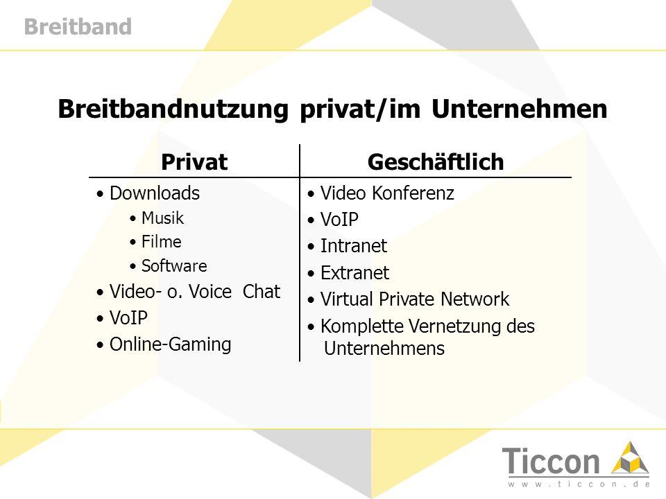 Breitband Breitbandnutzung privat/im Unternehmen PrivatGeschäftlich Downloads Musik Filme Software Video- o. Voice Chat VoIP Online-Gaming Video Konfe