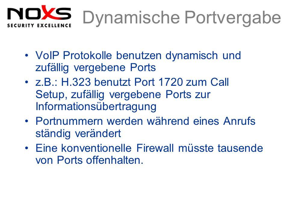 Dynamische Portvergabe VoIP Protokolle benutzen dynamisch und zufällig vergebene Ports z.B.: H.323 benutzt Port 1720 zum Call Setup, zufällig vergeben