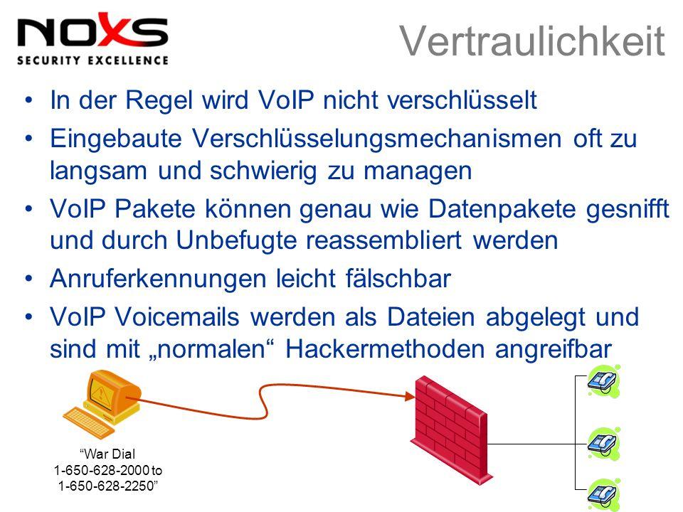 Vertraulichkeit In der Regel wird VoIP nicht verschlüsselt Eingebaute Verschlüsselungsmechanismen oft zu langsam und schwierig zu managen VoIP Pakete