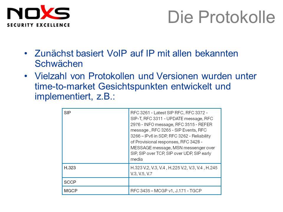 Die Protokolle Zunächst basiert VoIP auf IP mit allen bekannten Schwächen Vielzahl von Protokollen und Versionen wurden unter time-to-market Gesichtsp