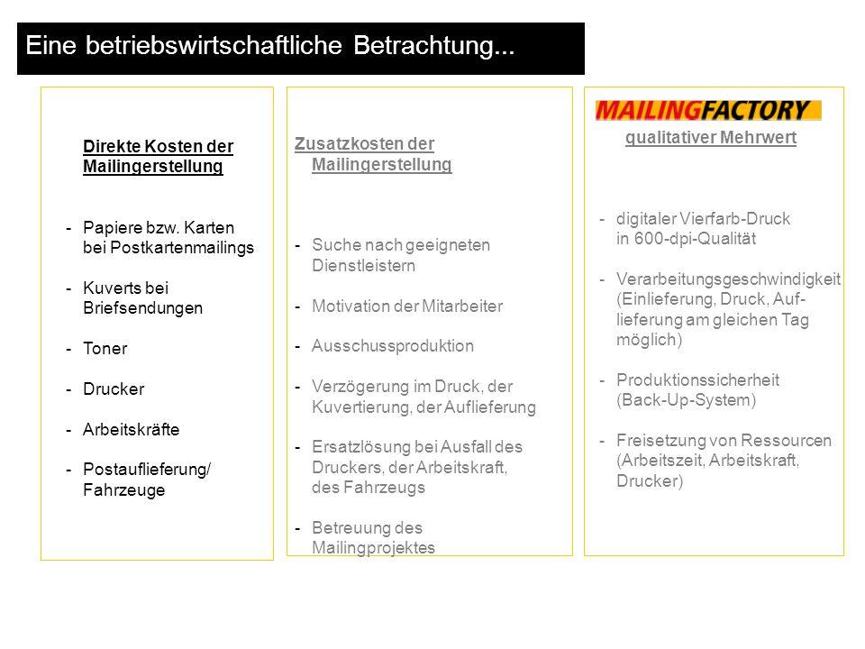Zusatzkosten der Mailingerstellung -Suche nach geeigneten Dienstleistern -Motivation der Mitarbeiter -Ausschussproduktion -Verzögerung im Druck, der K
