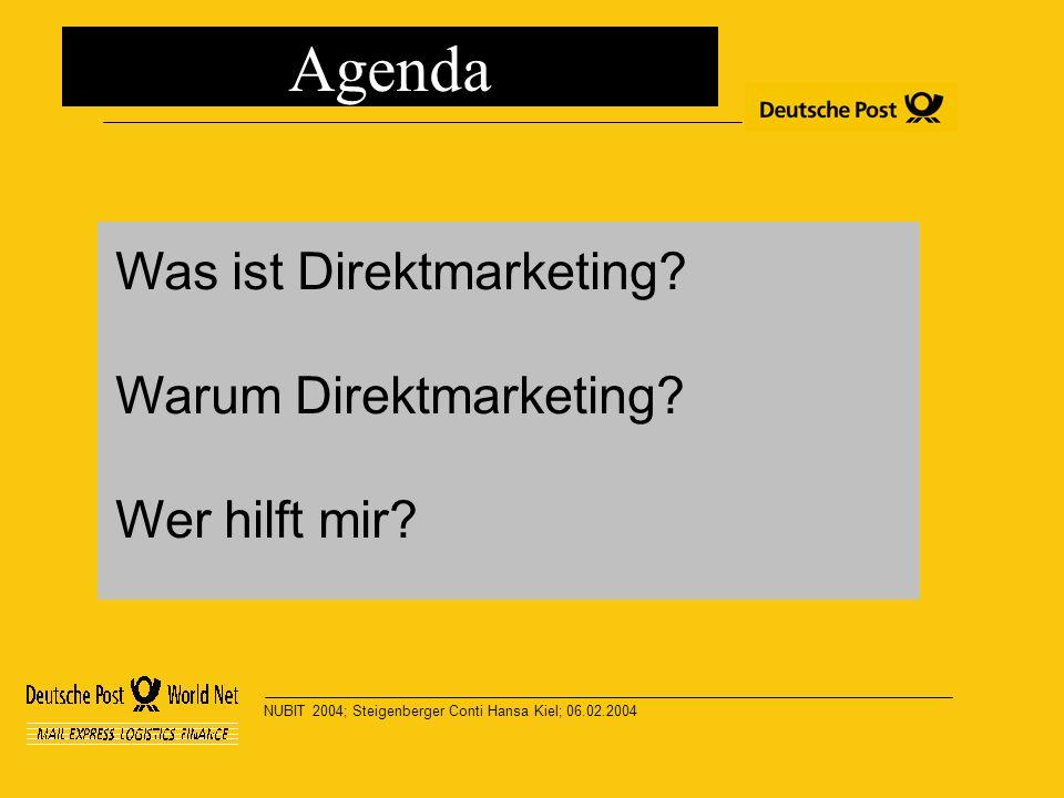 NUBIT 2004; Steigenberger Conti Hansa Kiel; 06.02.2004 Was ist Direktmarketing? Warum Direktmarketing? Wer hilft mir? Agenda