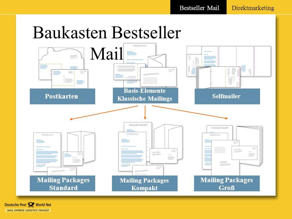 Baukasten Bestseller Mail Postkarten Bestseller MailDirektmarketing Basis-Elemente Klassische Mailings Selfmailer Mailing Packages Standard Mailing Pa