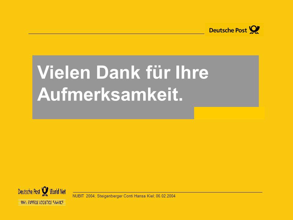 NUBIT 2004; Steigenberger Conti Hansa Kiel; 06.02.2004 Vielen Dank für Ihre Aufmerksamkeit.