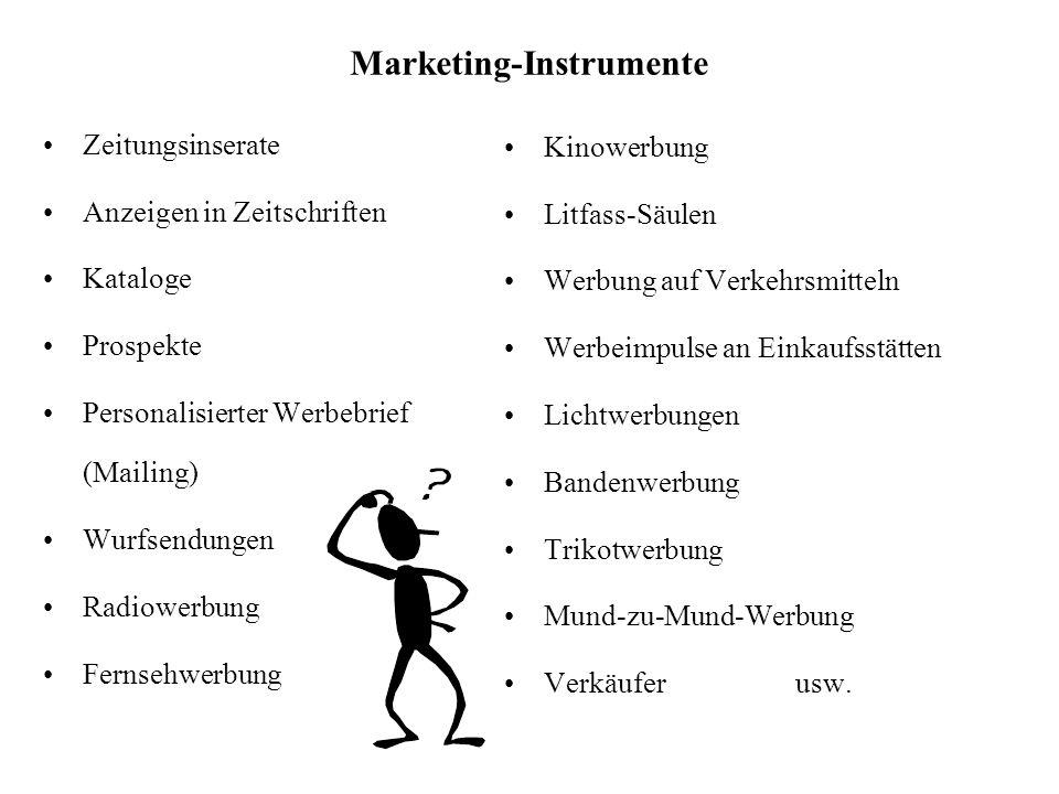 Marketing-Instrumente Kinowerbung Litfass-Säulen Werbung auf Verkehrsmitteln Werbeimpulse an Einkaufsstätten Lichtwerbungen Bandenwerbung Trikotwerbun