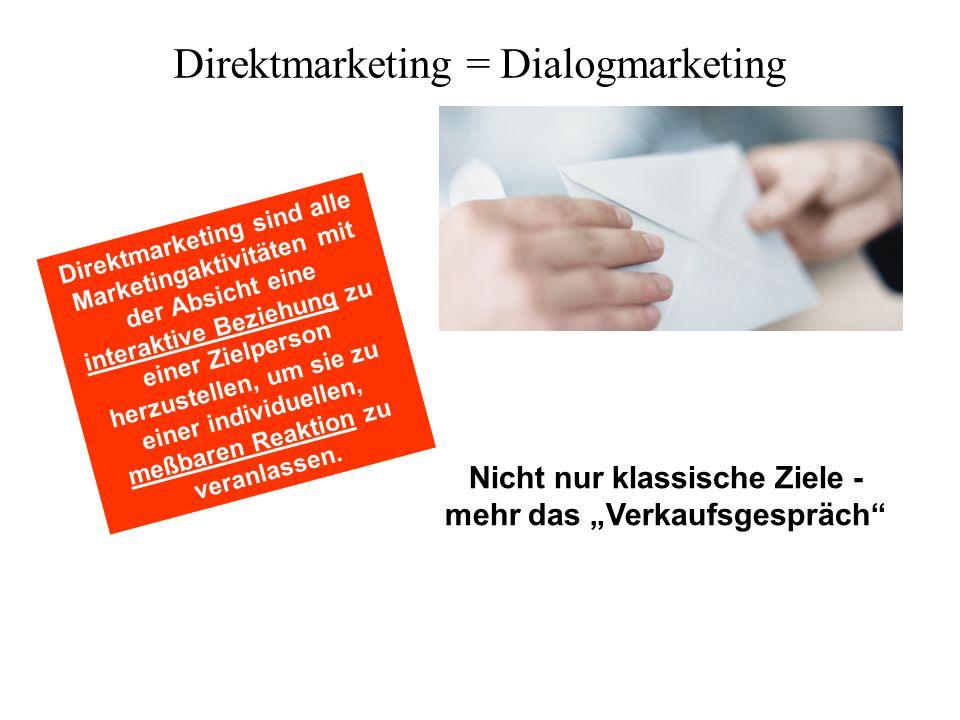 Nicht nur klassische Ziele - mehr das Verkaufsgespräch Direktmarketing sind alle Marketingaktivitäten mit der Absicht eine interaktive Beziehung zu ei
