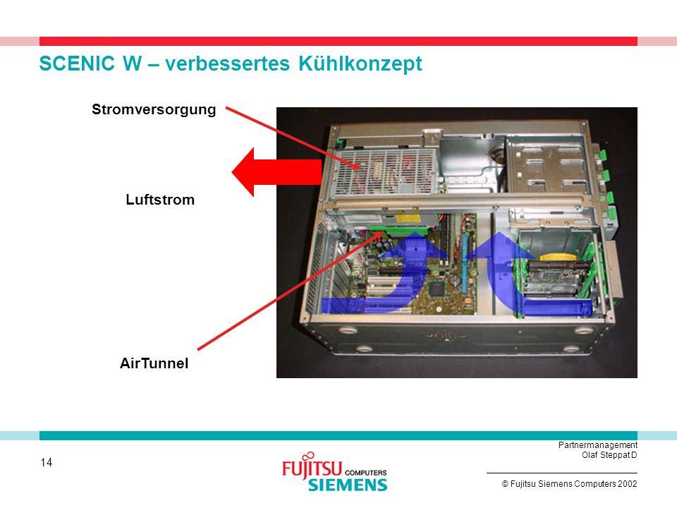 13 © Fujitsu Siemens Computers 2002 Partnermanagement Olaf Steppat D SCENIC W – erweiterbar und Flexibel 4 frei zugängliche FlexyBays ermöglichen bis